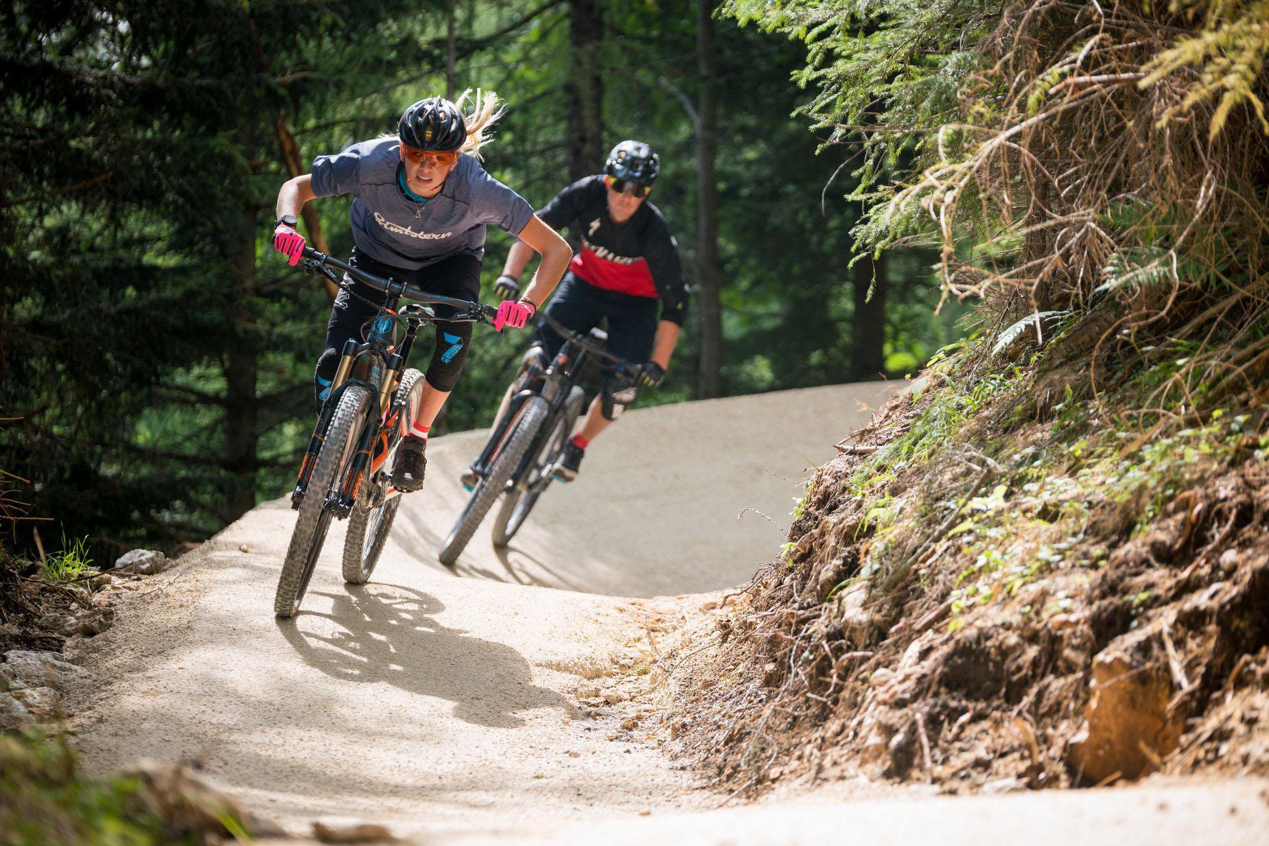 Mountainbiker on the top of Schwarzkogel nearby to Lake Faak.